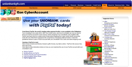 UnionBank promoting PayPal and EON/VISA Electron CyberAccounts.